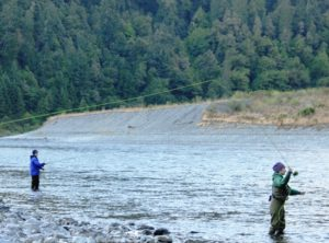 Flycasting for steelhead on the Klamath River